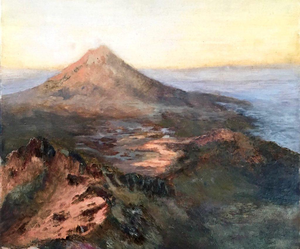 Amanecer en las alturas, temple y óleo sobre tela y madera, 30 x 30 cms, 2018